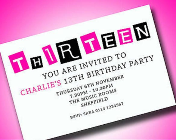 14 + teenage birthday invitations – free psd, vector eps, ai, Birthday invitations
