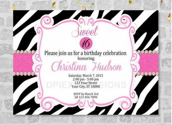 sweet sixteen or teenage girl birthday party invitation