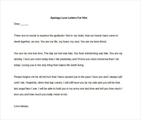 Apology Love Letters For Him Word Do Ent