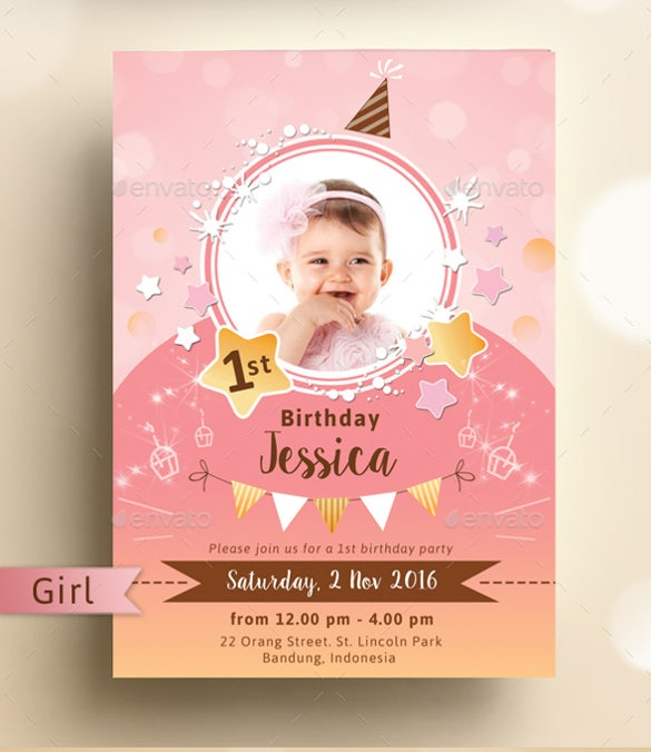 Kids Birthday Invitation Template 26 Free PSD Vector EPS AI – 1st Birthday Invitation Templates Free