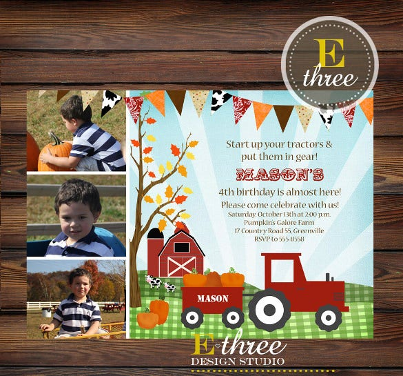 farm pumpkin patch kids birthday invitation