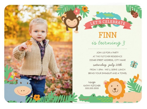 in the jungle birthday party celebration invitation
