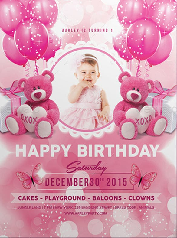 pink kids birthday party invitation