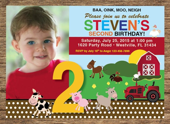 kids birthday invitation farm animals