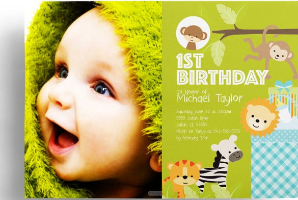 Kids birthday invitation templates 31 free psd vector eps ai 1st birthday safari baby shower invitation stopboris Images