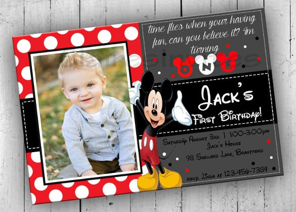 mickey mouse birthday party invitation for kids