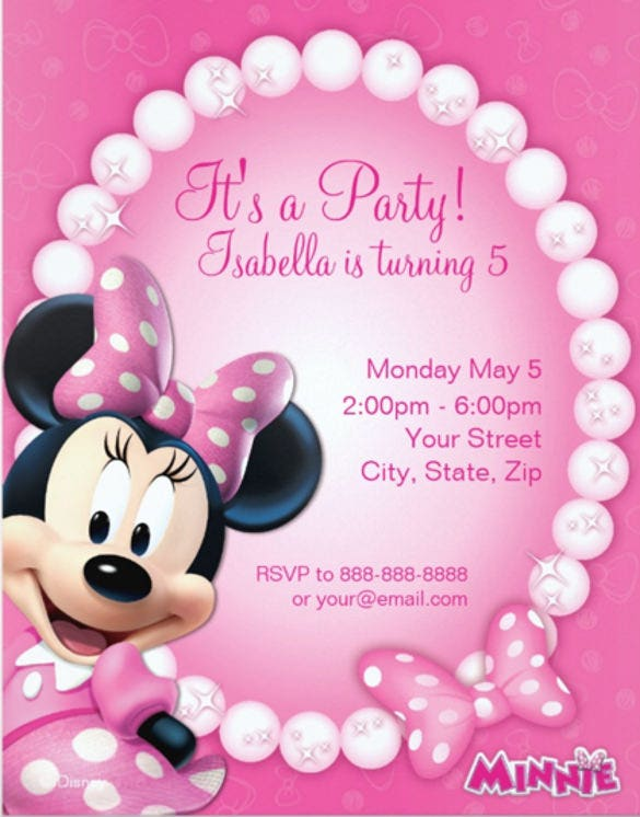minnie pink and white birthday invitation1