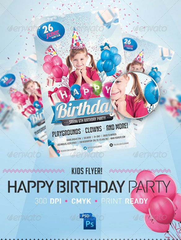kids birthday invitation party flyer