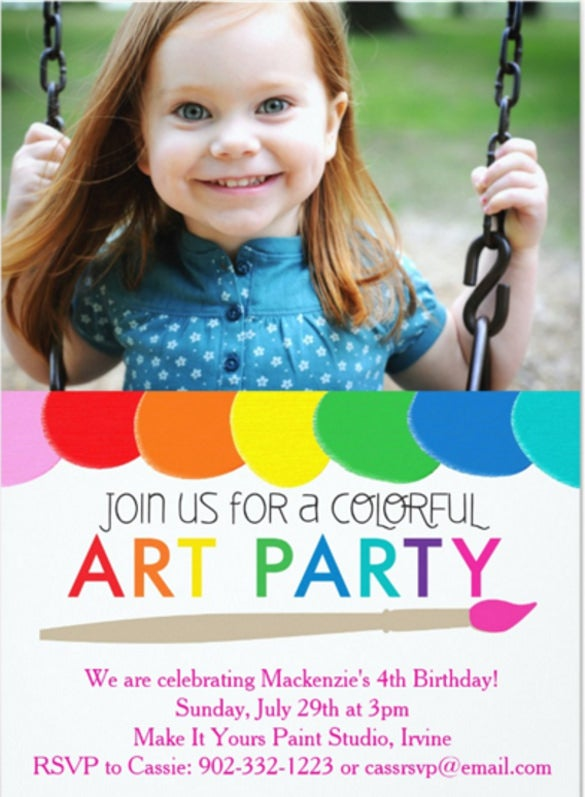 colorful art party invitation
