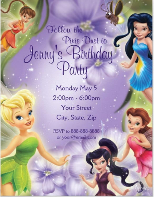 Tinker Bell And Friends Birthday Party Invitation For Kids