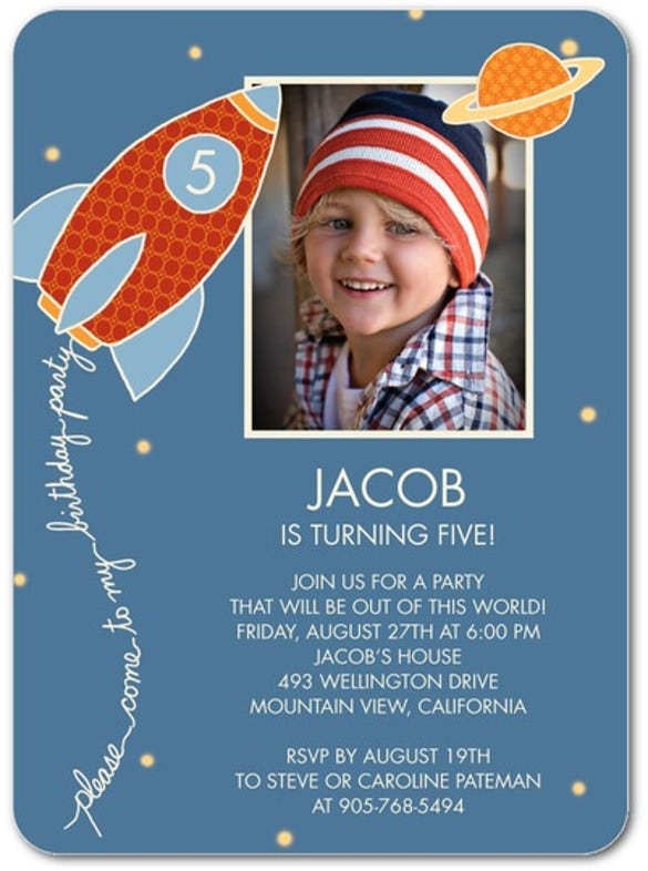 blue birthday party invitation for kids