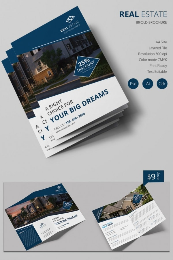 Simple Real Estate A4 Bi Fold Brochure Template Free Premium