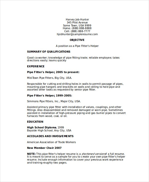 pipefitter helper resume - Kellogg Resume Format