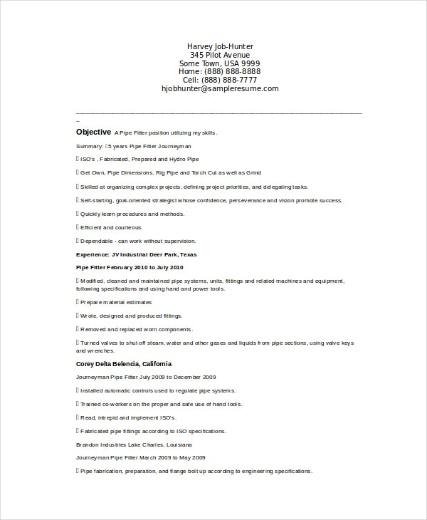 journeyman pipefitter resume