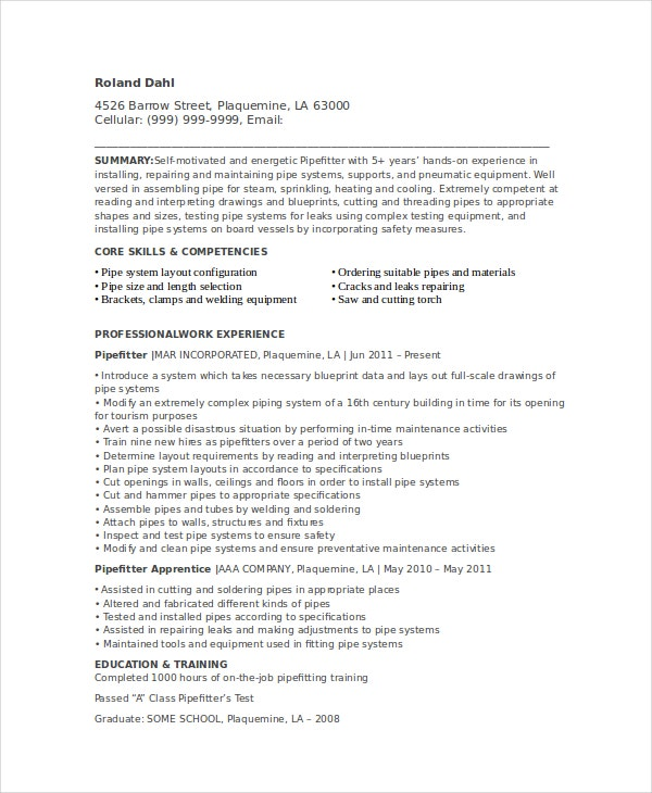 Pipefitter Resume Template - 6+ Free Word, Documents Download | Free ...