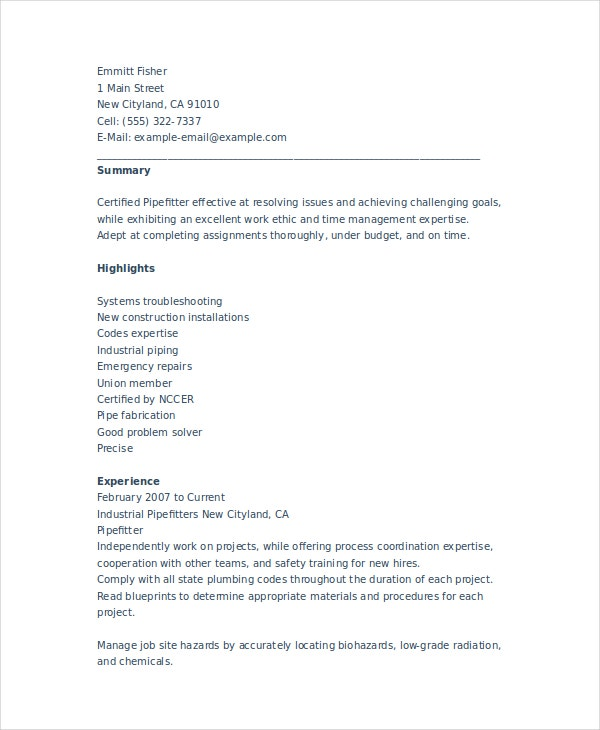 Superb Construction Pipefitter Resume Within Pipefitter Resume