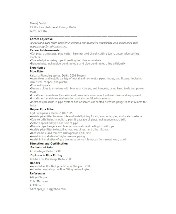 Sample Pipefitter Resume Template