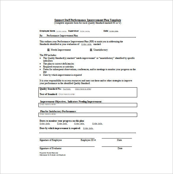 support staff performance improvement plan word format free download