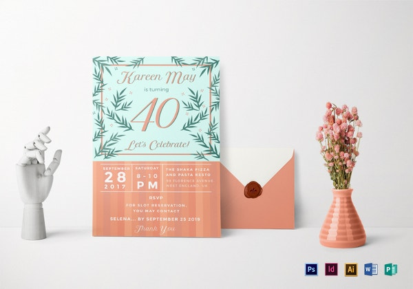 40th birthday revision invitation template