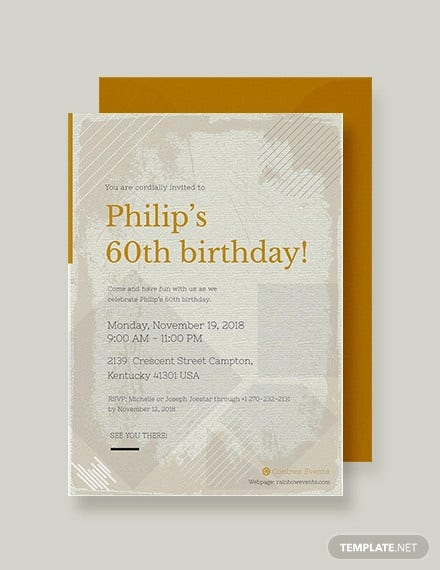 60th birthday invitation card