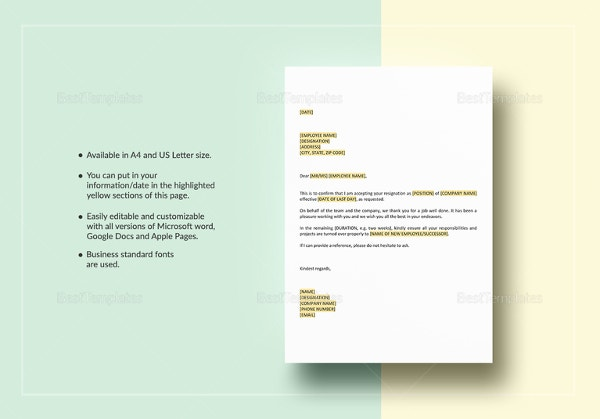 Resignation Letter Template 38 Free Word PDF Documents Download – Microsoft Office Resignation Letter Template