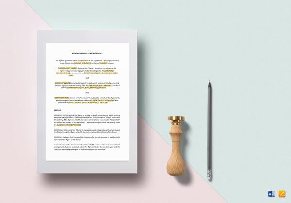 agency agreement corporate duties template