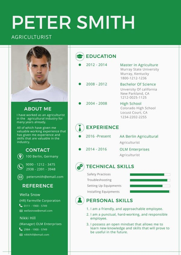 agriculturist-resume-template