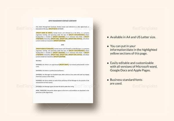 artist management contract template in word1