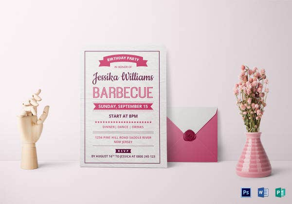 BBQ Birthday Party Invitation Card Template  Birthday Invitation Cards Templates
