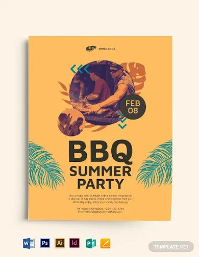 bbq summer party flyer template1