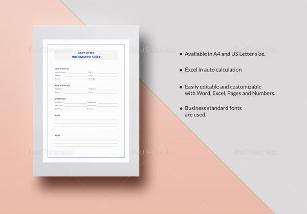 babysitter-information-sheet-template