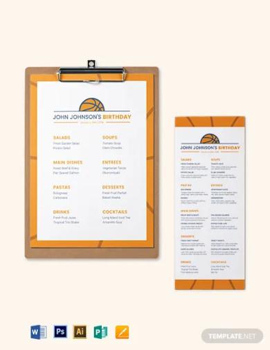 basketball birthday menu template