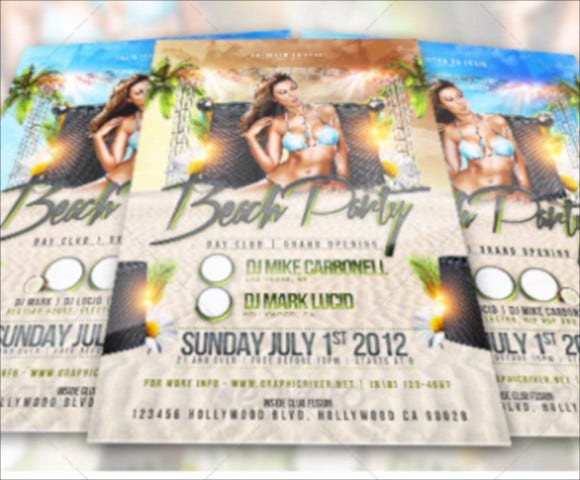 beach party day and night club flyer