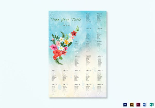 beach wedding seating chart indesign template