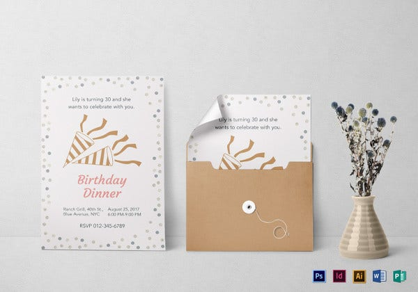 birthday dinner invitation psd template
