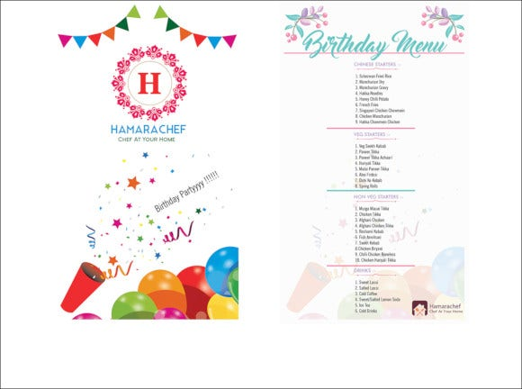 birthday menu card design template