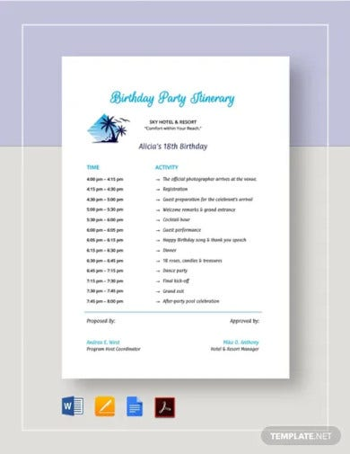 birthday party itinerary template1