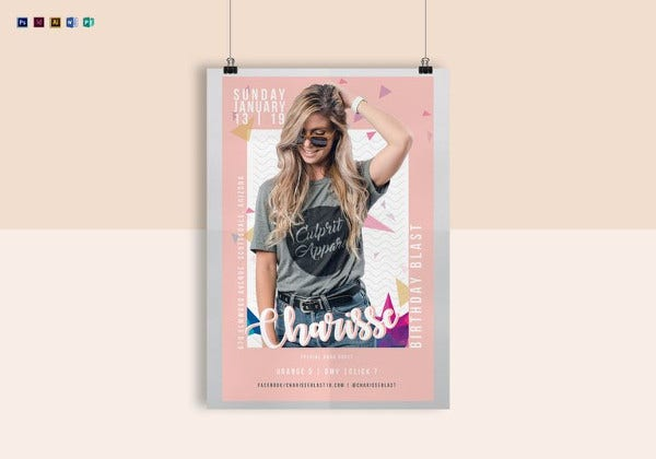 birthday poster template in psd format