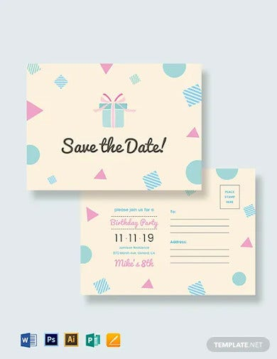 birthday save the date postcard template