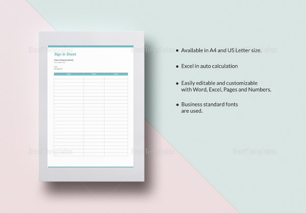 blank sign in sheet template word