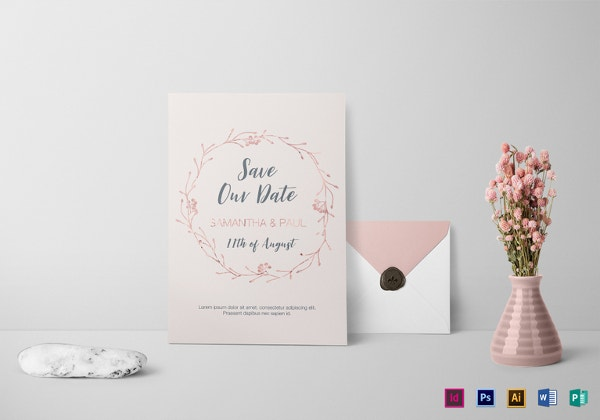 blush copper wedding invitation template
