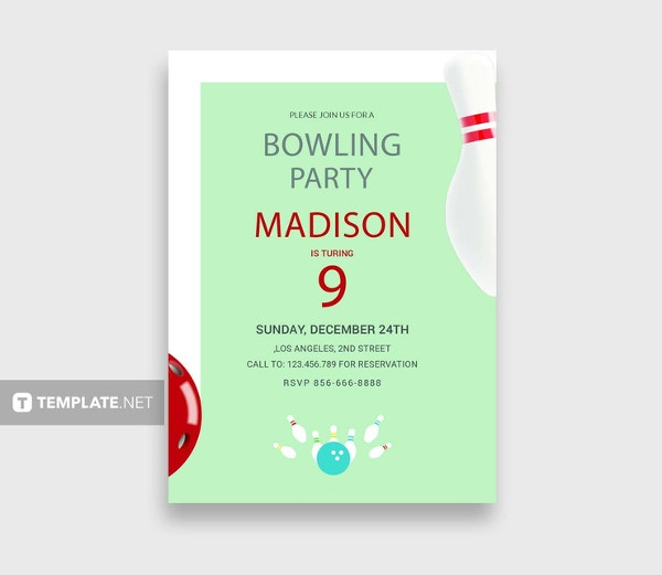 bowling birthday party invitation template to edit