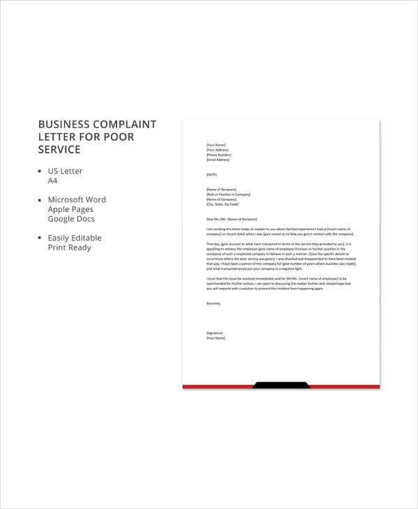 10 business complaint letter templates pdf doc