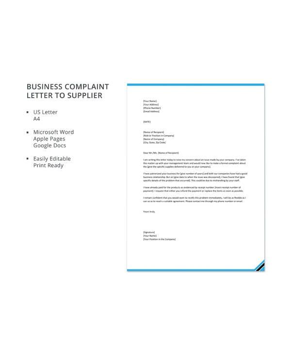 10 business complaint letter templates pdf doc