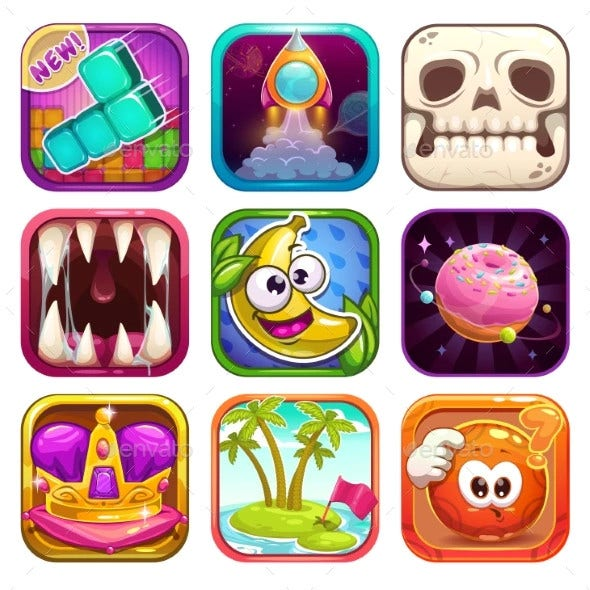 cartoon app icons for game design