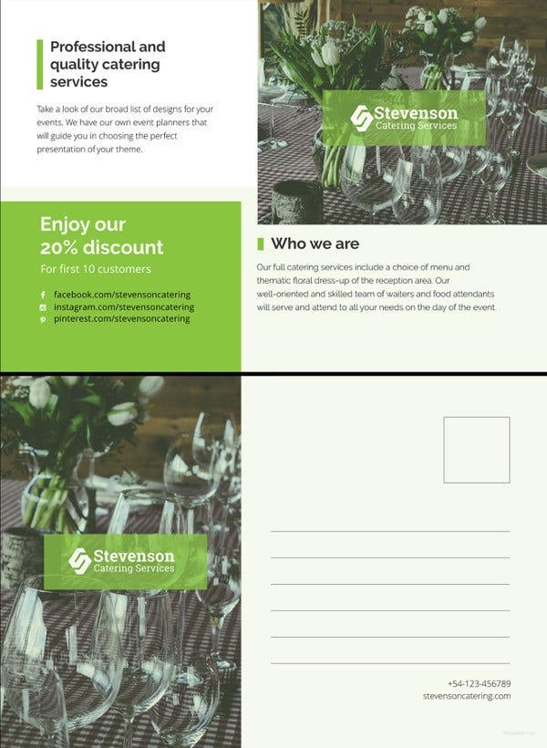 catering business postcard template