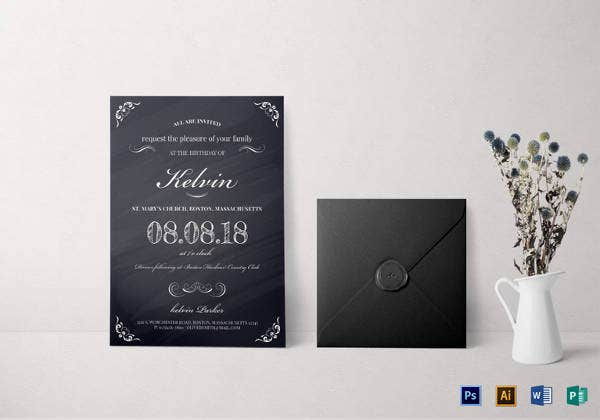 Chalkboard Birthday Party Invitation Template Download Now