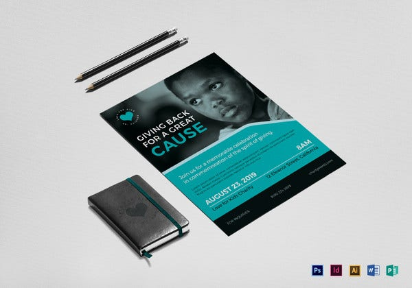 charity event flyer template in indesign