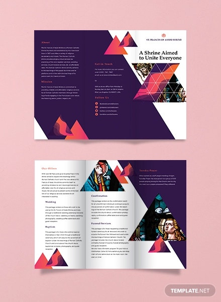2  ideal church tri fold brochure template