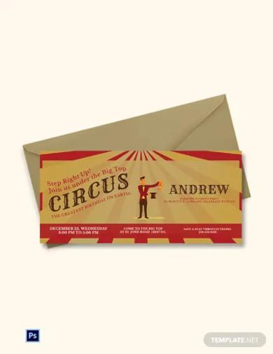 circus birthday bash invitation template